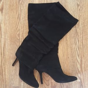 Isola Black Suede Leather Heeled Boots Size 9